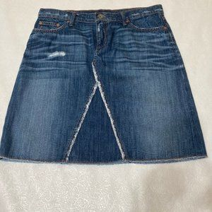 Banana Republic Distressed Denim Skirt Pockets 29